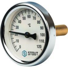 STOUT Термометр биметаллический с погружной гильзой Dn 63 мм 1 2
